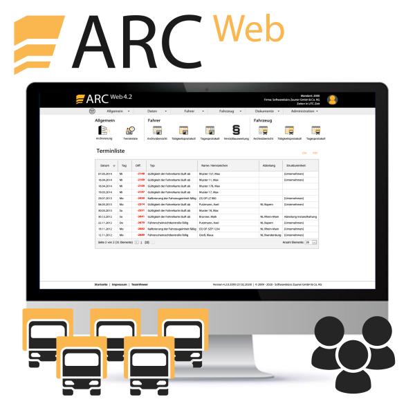 ARC WEB Professional 1 - ab 6 Fahrzeugen, inkl. 3 User