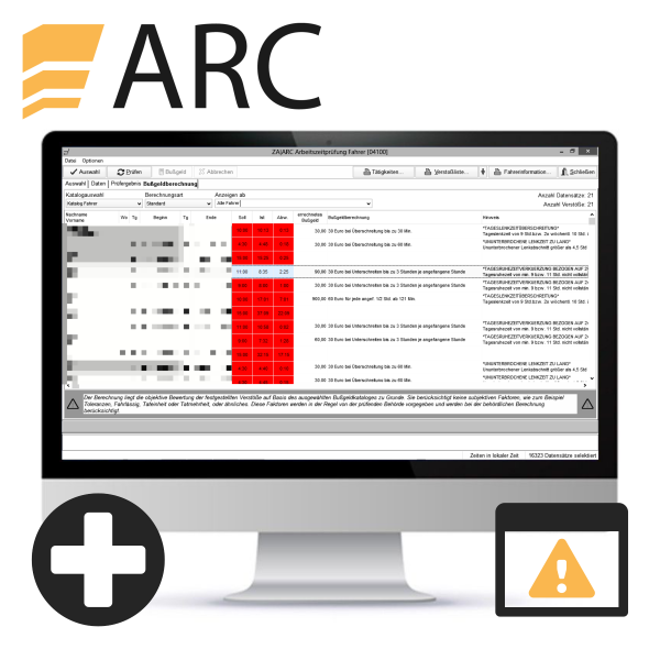 ARC EG-Fahrer-Verstoßauswertung (inkl. Standard Zeiterfassung) für Mehrplatz